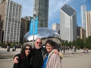 "Steve & Joyce Miller with Roz in front of the ""Bean"""